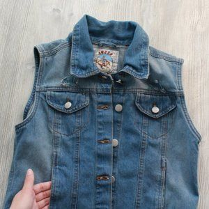 Jesse Jeans Vintage 80's Distressed Denim Vest S/M